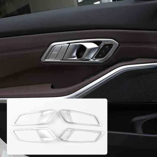 AL 4ピース 適用: BMW G20 G28 325 3シリーズ 2019 2020 左ハンドル車 ABS クローム インテリア ドア ハンドル フレーム トリム カーボンファイバー・シルバー AL-II-0200