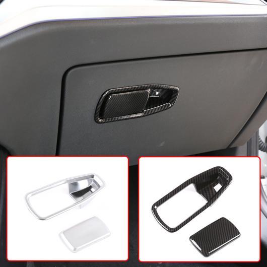 AL 2ピース ABS カーボンファイバー インテリア 助手席 グローブ ボックス ハンドル カバー 適用: BMW 3シリーズ 2020 G20 G28 アクセサリー カーボンファイバー・シルバー AL-II-0251