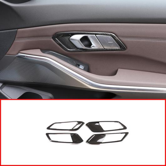 AL ABS クローム カーボンファイバー インテリア ドア ハンドル フレーム トリム 適用: BMW G20 G28 325 3シリーズ 2019 2020 左ハンドル車 4ピース シルバー・カーボンファイバー AL-II-0283