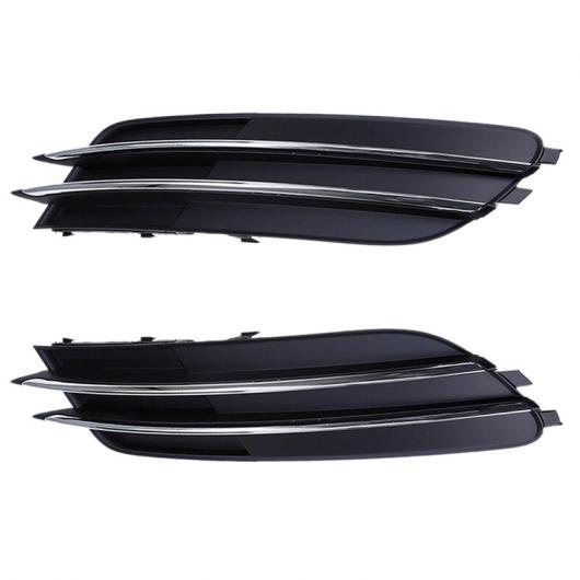 AL 適用: アウディ/AUDI A6 C7 2011-2014 クローム ストリップ フロント 左 右 バンパー ロワー グリル カバー フロント フォグライト カバー ランプ マスク ブラック AL-II-0413