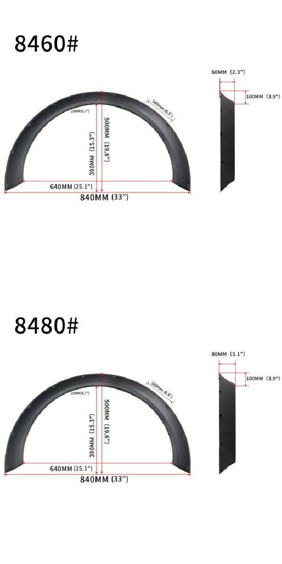 AL 4ピース フレキシブル ユニバーサル ワイド 適用: フェンダー フレア ホイール アーチ エクステンション VW ゴルフ MK5 MK6 MK7 レクサス IS200T IS250 IS350 8460・8480 AL-II-3240