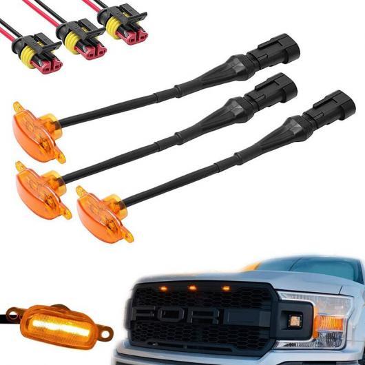 送料無料 AL 3ピース エクステリア アンバー LED ライト セール特価品 装飾 フロント グリル 適用: ランプ AL-KK-6268 2004-2019 イエロー FORD ラプター ランニング F250 YEL フォード アイテム勢ぞろい F150