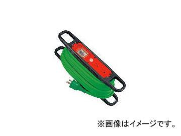 日動工業/NICHIDO ハンドリール 100V 3芯×10m 緑 アース過負荷漏電しゃ断器付 HREK102G(1256874) JAN:4937305011898