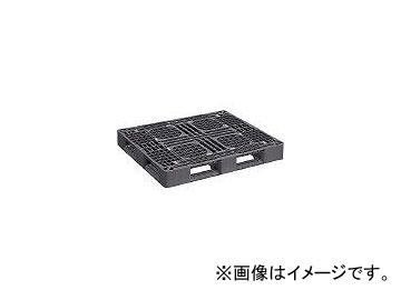 日本プラパレット プラスチックパレットLA-1210RR 片面四方差し 黒 LA1210RRBK