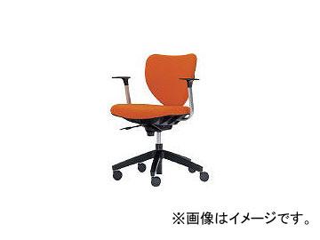 内田洋行/UCHIDA 「エポチェア」 ローバック T型肘付き 布 オレンジ 53401113