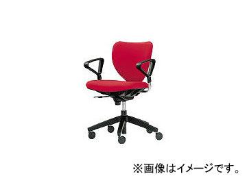 内田洋行/UCHIDA 「エポチェア」 ローバック リング肘付き 布 レッド 53401318