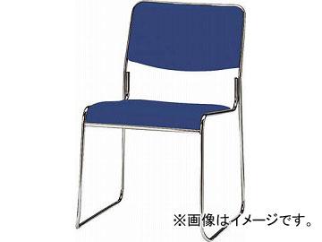TOKIO スタッキングチェア メッキ脚タイプ ビニールレザー インディゴブルー FSC-15ML-IB(4932528)