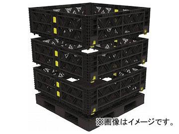 トラスコ中山 マルチステージコンテナ メッシュ 3段 1100×1100 黒 TMSC-M1111-BK(7698127)