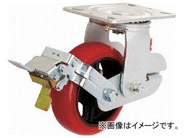 イノアック 牽引台車用キャスター バネタイプ ストッパー・旋回金具付 φ150 KTU-150WJS-RS(7920407)