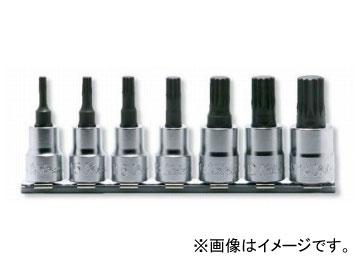 """コーケン/Koken 3/8""""(9.5mm) 3重4角ビットソケット レールセット 7ヶ組 RS3020/7-L50"""