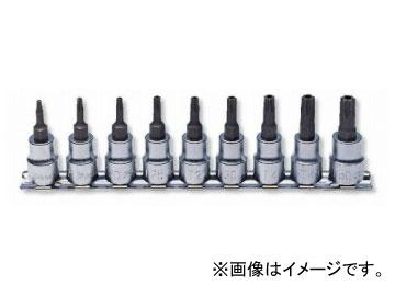 """コーケン/Koken 3/8""""(9.5mm) イジリ止めトルクスビットソケット レールセット 9ヶ組 RS3025/9-HOLE"""