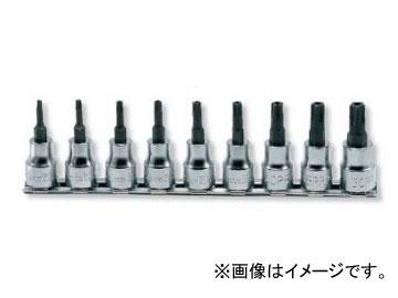 """コーケン/Koken 3/8""""(9.5mm) イジリ止めペンタローブビットソケット レールセット 9ヶ組 RS3025/9-PR"""