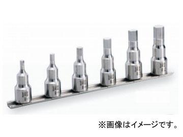 """トネ/TONE 12.7mm(1/2"""") SUSヘキサゴンソケットセット(ホルダー付) 6点 品番:SHH406"""