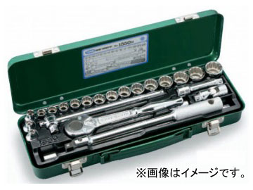 """トネ/TONE 9.5mm(3/8"""") ソケットレンチセット 25点 品番:1550M"""