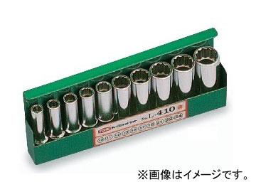 """トネ/TONE 12.7mm(1/2"""") ディープソケットセット(12角) 10点 品番:L410"""