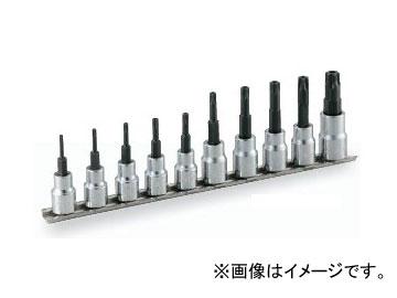 """トネ/TONE 9.5mm(3/8"""") トルクスソケットセット(いじり防止タイプ・ホルダー付) 10点 品番:HTX310H"""