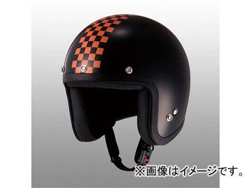 2輪 山城/YAMASHIRO JUQUE チェッカージェットヘルメット FC-023 ブラック/オレンジ サイズ:M,L,XL