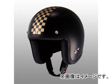 2輪 山城/YAMASHIRO JUQUE チェッカージェットヘルメット FC-023 ブラック/ゴールド サイズ:M,L,XL