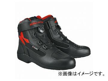 2輪 EXUSTAR ブーツ ブラック/レッド 選べる6サイズ E-SBT271W