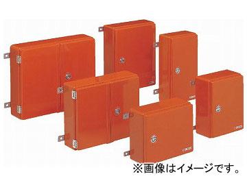 未来工業/MIRAI 強化ボックス(FRP樹脂製防雨常設ボックス) 屋根無・取付ステー付(ヨコ型) 両開き FB-5265N オレンジ 520×650mm