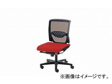 ナイキ/NAIKI 事務用チェアー ローバック肘なし レッド E546M-RE 465×580×875~965mm