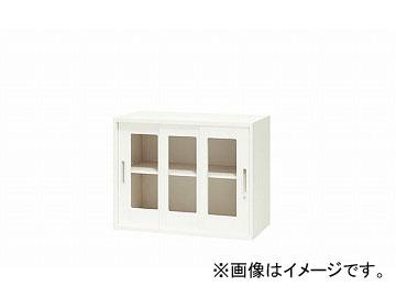 ナイキ/NAIKI リンカー/LINKER ガラス引違い書庫 3枚扉 ホワイト CW-0907HG3-HH 899×450×700mm