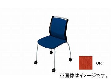 ナイキ/NAIKI 会議用チェアー 4本脚キャスター付/背パット オレンジ E290FC-OR 532×590×822mm