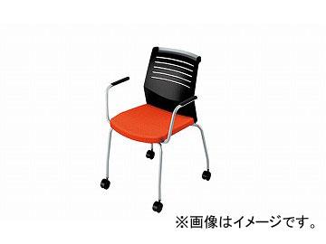 ナイキ/NAIKI 会議用チェアー 肘掛付 4本脚キャスター付/背ヌード オレンジ E291C-OR 600×590×822mm