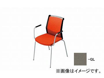 ナイキ/NAIKI 会議用チェアー 肘掛付 4本脚/背パット グレー E291F-GL 600×570×822mm