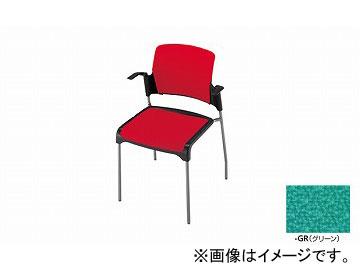 ナイキ/NAIKI 会議用チェアー 肘掛付 4本脚タイプ グリーン E244F-GR 615×520×800mm