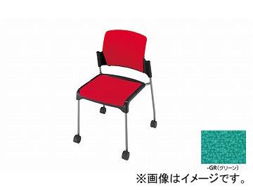 ナイキ/NAIKI 会議用チェアー 4本脚タイプ/キャスター付 グリーン E243FC-GR 548×562×800mm