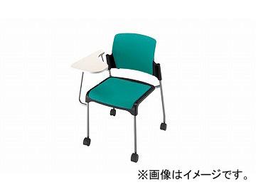 ナイキ/NAIKI 会議用チェアー メモ台付 4本脚タイプ/キャスター付 グリーン E245FC-GR 612(765)×640×800mm
