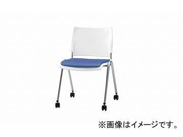 ナイキ/NAIKI 会議用チェアー 4本脚タイプ/キャスター付 ライトブルー E213FCN-LBL 530×560×762mm