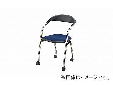 ナイキ/NAIKI 会議用チェアー 4本脚タイプ/キャスター付 インディゴブルー E129F-IBL 490×500×746mm