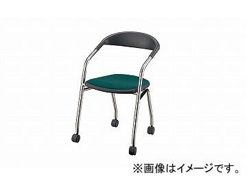 ナイキ/NAIKI 会議用チェアー 4本脚タイプ/キャスター付 アーモンドグリーン E129F-AGR 490×500×746mm