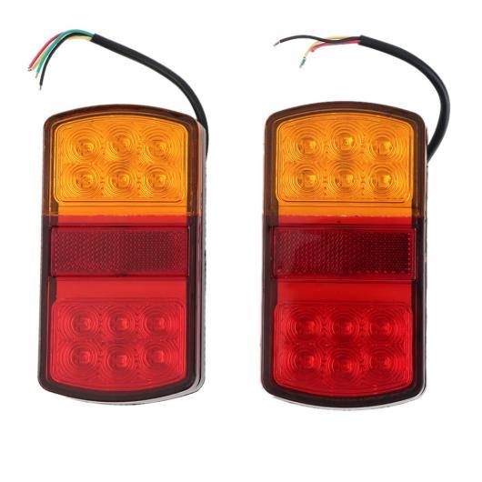 AL 車用メッキパーツ ペア12ボルト LED ストップリアテールインジケータ リバース ランプ ライト トレーラー カー トラック バン コンビネーションテールライト AL-AA-0946
