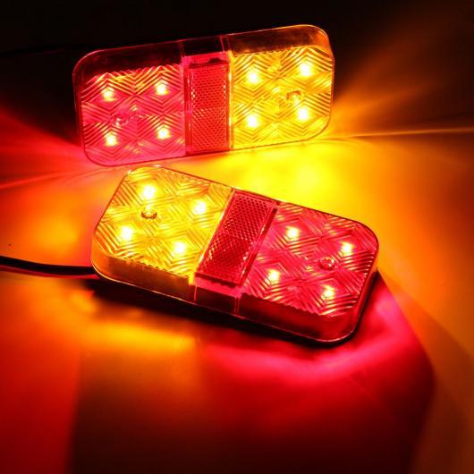 AL 車用メッキパーツ 2 × 8 LED カー トラック 大型 テールライト ワーニング ライトリア ランプ 防水 リア パーツ トレーラー ボート DC 12ボルト AL-AA-0948