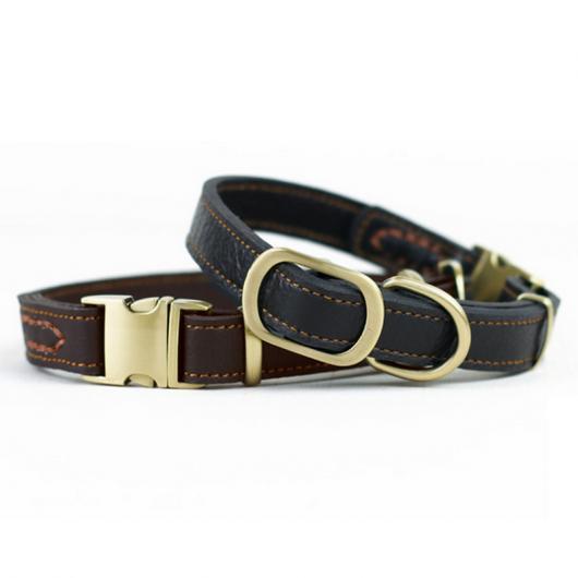 AL ペット用品 エレガント 犬 首輪 レザー クールネックレス小中大 素材 光沢 バックル 選べる2カラー ブラック,ブラウン L AL-AA-2710