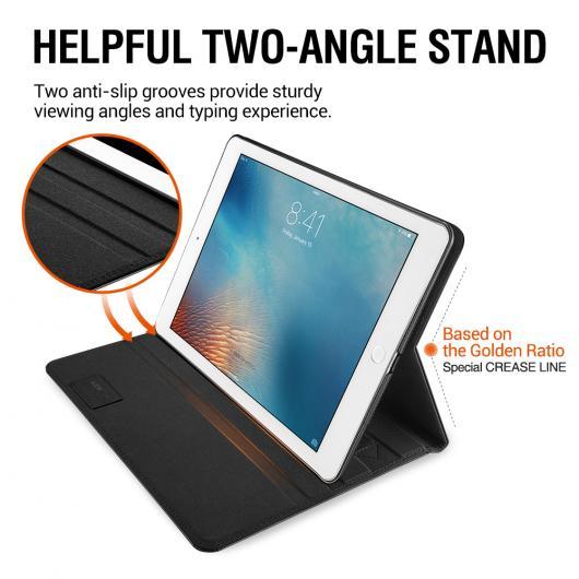 AL iPadケース ケース iPad 9.7 2018 モデル プレミアム PU レザービジネスフォリオ ポケット オート ウェイク カバー iPad 2017 9.7 選べる2カラー ブラック,ブラウン AL-AA-6355
