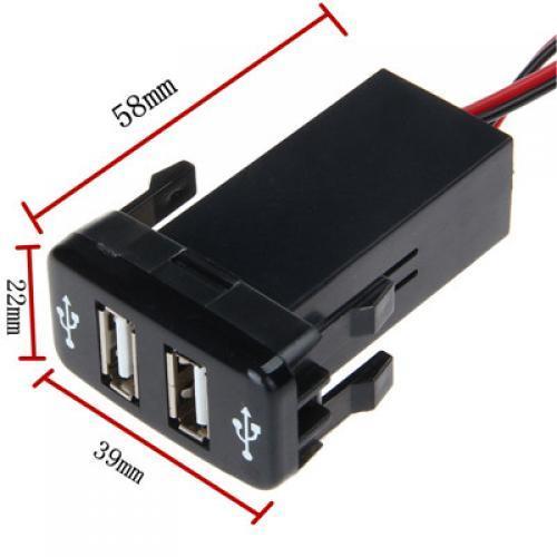 AL 車用ケーブル 5V 2.1Aデュアル USB インタフェースソケット充電器 オーディオ 入力ソケット トヨタ ハイラックス VIGO ブラック AL-AA-6896