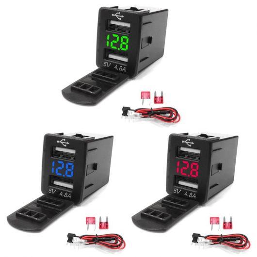 AL 車用ケーブル 12V デュアル USB カー 充電器 LED 電圧計 4.8A 電源 アダプタ 日産 スマート 電話 選べる3カラー レッド,ブルー,グリーン AL-AA-7324