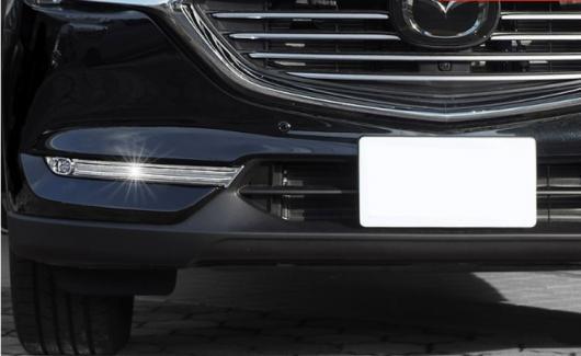 AL 車用メッキパーツ 4ピース クローム フロントフォグランプ アイリッド ストライプ カバー トリム モールディング マツダ CX-8 2017 2018 AL-AA-7979