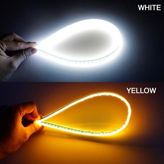 AL スリム フレキシブル DRL スイッチバック LED ナイトライダーストリップライト ヘッドライトシーケンシャル フロー アンバーターンシグナルライト White turn Yellow 60cm AL-BB-1168
