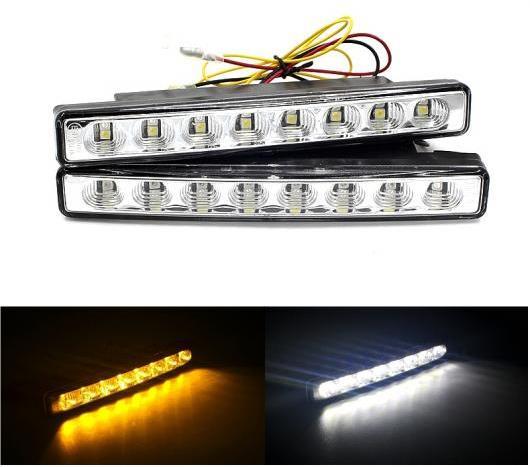 AL 2ピース 10ワット155mm2 × 8 LED ホワイト DRL デイタイム ランニングライト アンバーウインカーステアリング DC12V 148LMデイランプ White And Amber 6000K AL-BB-1267