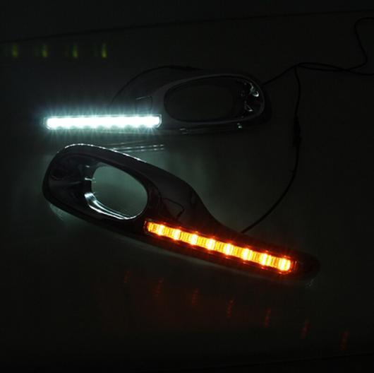 AL 点滅1ペア LED デイタイムランニングライト ホンダ ジャズフィット2011 2012 2013 DRL フォグランプ イエローターニングシグナルライト White AL-BB-1348