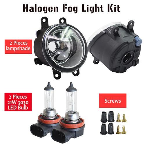 AL 日産 デュアリス J11 H11 フロント フォグ ライト アセンブリ ランプ シェード + バルブ DRL 12V 2013 2014 2015 2016 2017 2018 2019 Halogen Fog Light AL-BB-1752