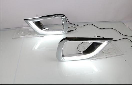 AL 日産 ナバラ ダットサントラック NP300 2015 2016 イエロー ターンシグナルスタイルリレー防水 12V LED デイタイムランニング ライト DRL サート フォグ ランプ ホールカバー white AL-BB-1755