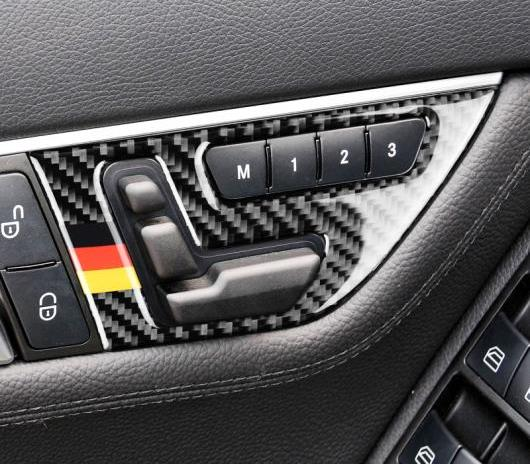 AL 車用外装パーツ カーボンファイバー 適用: メルセデスベンツ Cクラス W204 シート アジャスター ボタン スイッチ パネル カバー トリム ステッカー タイプ A LHD ドイツ~タイプ B ドイツ AL-DD-7613