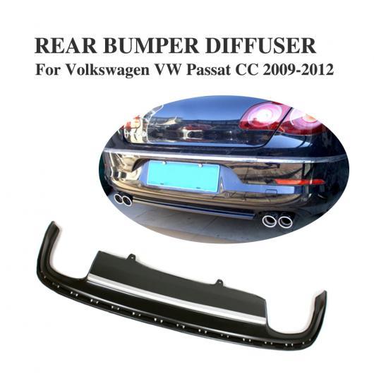 AL 車用外装パーツ ブラック PU リア バンパー リップ ディフューザー スポイラー 適用: フォルクスワーゲン VW パサート CC 2009-2012 AL-DD-7844