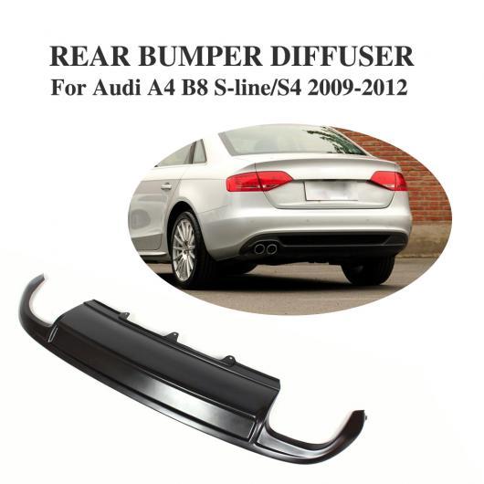 AL 車用外装パーツ リア ディフューザー リップ バンパー スポイラー 適用: アウディ A4 B8 S4&Sライン セダン 4ドア 2009-2012 4本出し FRP ブラック AL-DD-8249